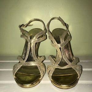 Gold Textured Heels